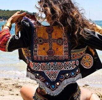 jacket bohemian blue black winter outfits gypsy embroidered decoration