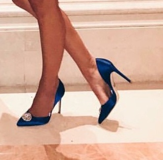 shoes swarovski badgley mischka formal shoes blue satin rhinestones crystal manolo blahnik heels