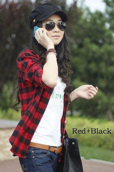 shirt flannel shirt red black, cute