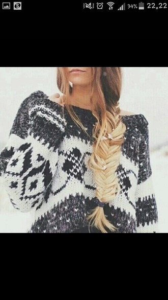 sweater winter outfits warm black white braid