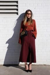 sweater,tumblr,bell sleeves,bell sleeve sweater,red sweater,skirt,midi skirt,burgundy,burgundy sweater,pumps,sunglasses,bag,black bag,crossbody bag