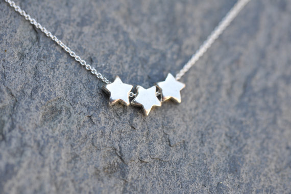 3 Stars Necklace  Sterling Silver chain with by LoveJewelryByJ