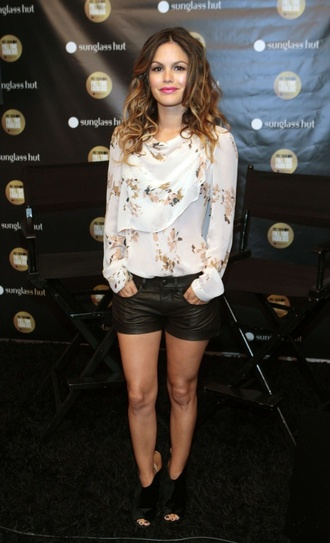 rachel bilson black shorts leather shorts shorts