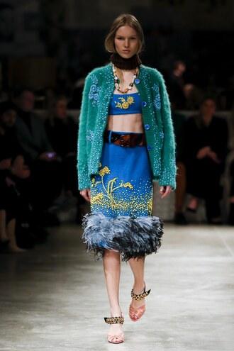 skirt top cardigan prada milan fashion week 2017 fashion week 2017 runway model