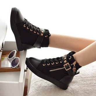 shoes fashion black buckles footwear trendy cute converse fashion zipper rivets canvas shoes