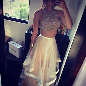 dress white sequins two part dress prom cute fashion cute dress love prom dress nail polish