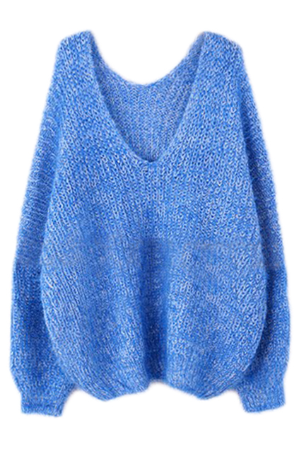 ROMWE | ROMWE V-neck Backless Batwing Sleeved Deep Blue Jumper, The Latest Street Fashion