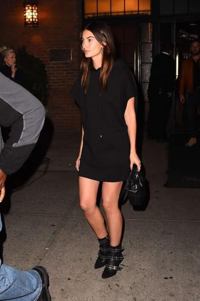 dress, ankle boots, mini dress, black