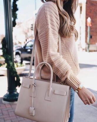 sweater bag nude bag tumblr beige beige sweater bracelets cuff bracelet jewels jewelry