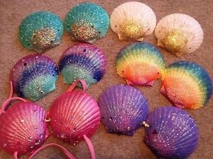 Mermaid Sea Shell Bra Rave GoGo Party Underwater Ocean Sea Fairy Nymph Glitter | eBay
