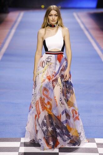 dress maxi dress summer dress one shoulder gigi hadid model runway tommy hilfiger milan fashion week 2018 fashion week