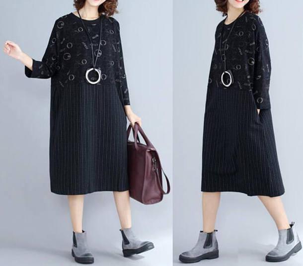 dress loose pullover dress black dress
