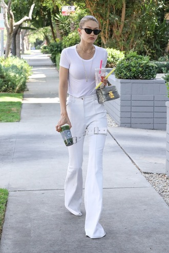 pants top gigi hadid streetstyle model off-duty all white everything