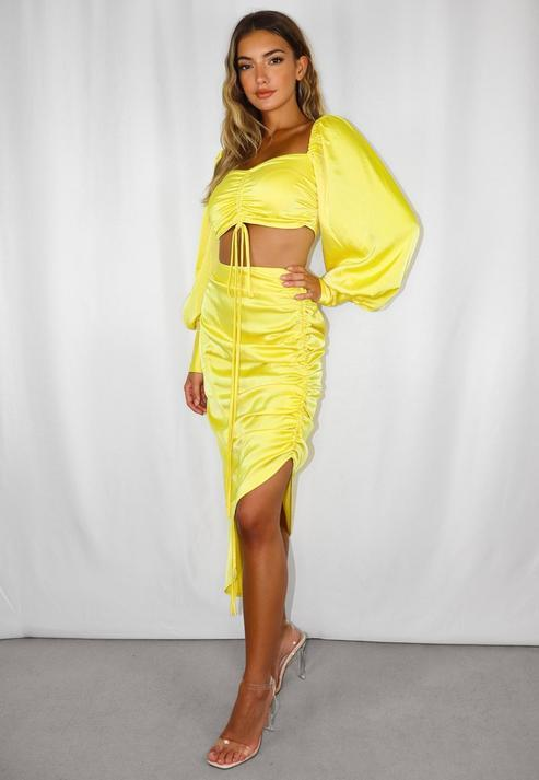 Yellow Satin Ruched Front Asymmetric Skirt