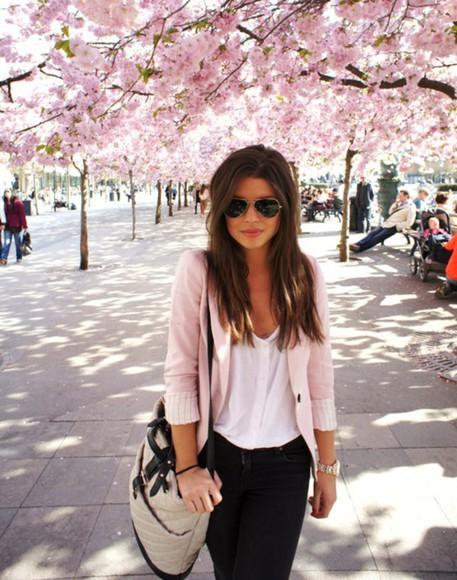 cardigan girl pink cardigan bag white top