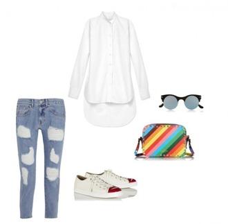 helena bordon blogger white shirt ripped jeans colorful