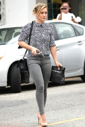 jeans,hilary duff,shoes,blouse,belt,jumpsuit,cardigan,bag,dress,coat,pants