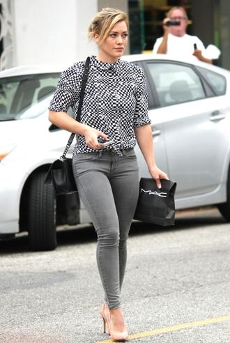 jeans hilary duff shoes blouse belt jumpsuit cardigan bag dress coat pants