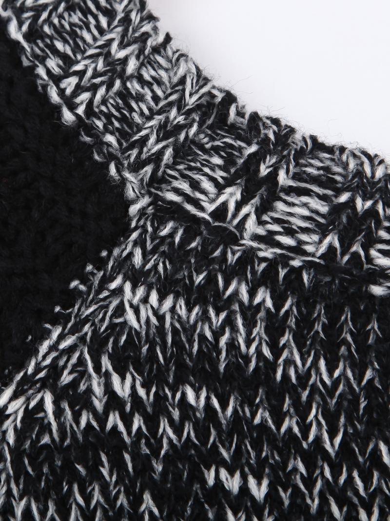 Black Contrast Shoulder Long Sleeve Cable Knit Sweater - Sheinside.com