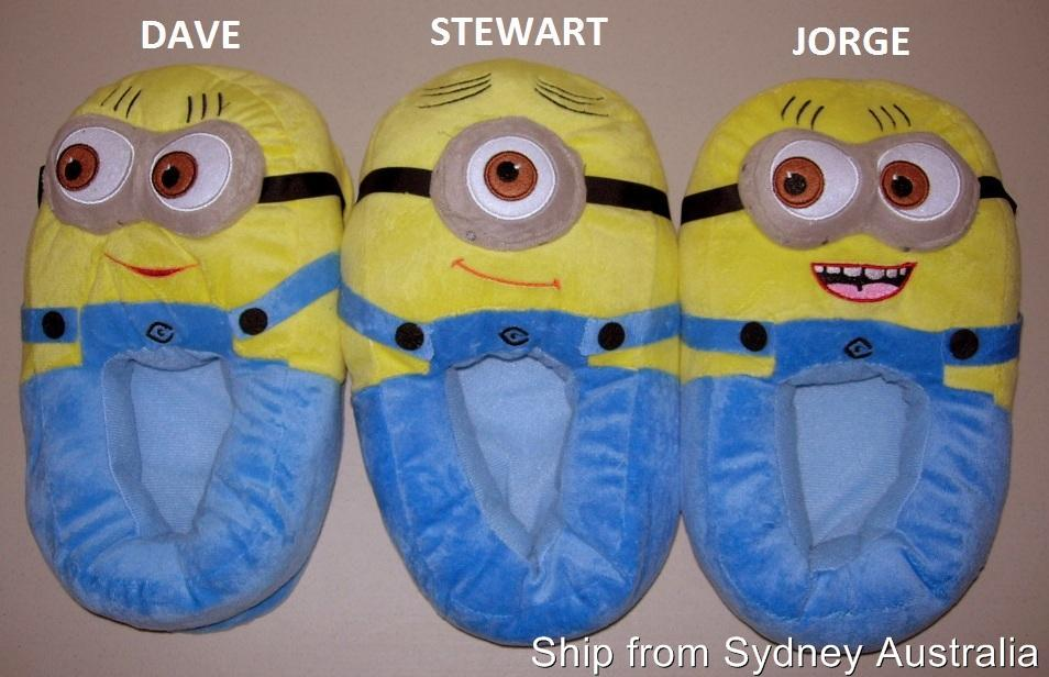 "New Dave,Jorge,Stewart DESPICABLE ME Minions Adult 11"" Plush Slippers 3D Eyes 