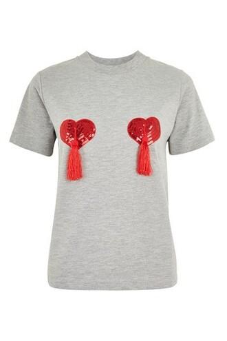 t-shirt shirt heart tassel grey top