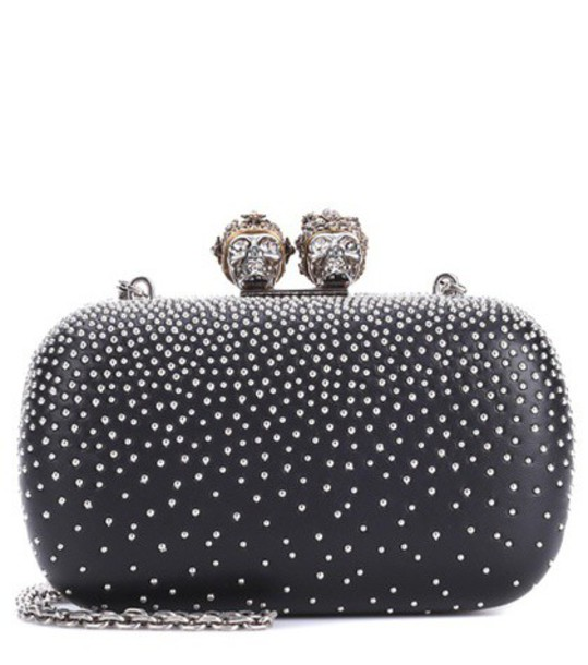 Alexander Mcqueen studded king clutch black bag