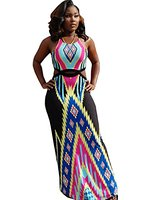 Ybenlow Womens Bohemian Printed Cut Out Halter Maxi Dress: Amazon Fashion