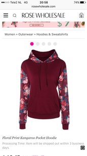 sweater,floral,flowers,fashion,style,red,burgundy,casual,rose wholesale