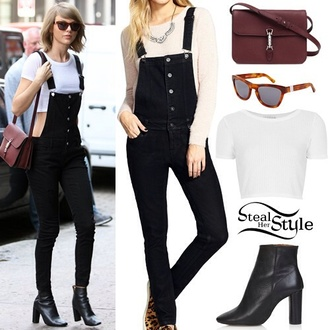 taylor swift black overalls celebrity style