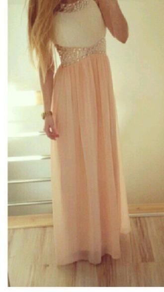dress long rose abiball prom kleid white