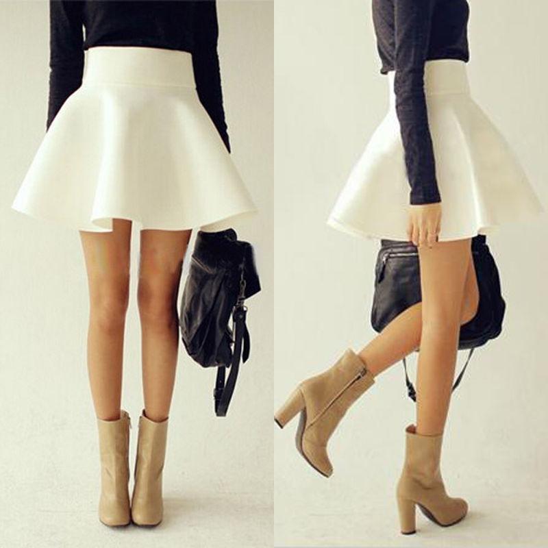96a7ad53244 Women High Waist Plain Skater Flared Pleated Stretch Short Mini Skirt ...