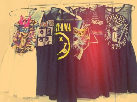 dress nirvana pink floyd bands little black dress guns and roses clothes hipster the doors the ramones band t-shirt graphic tee sheer dress black yellow red dress red concert doors festival bandtee music t-shirt band rock rock and roll the beatles skirt