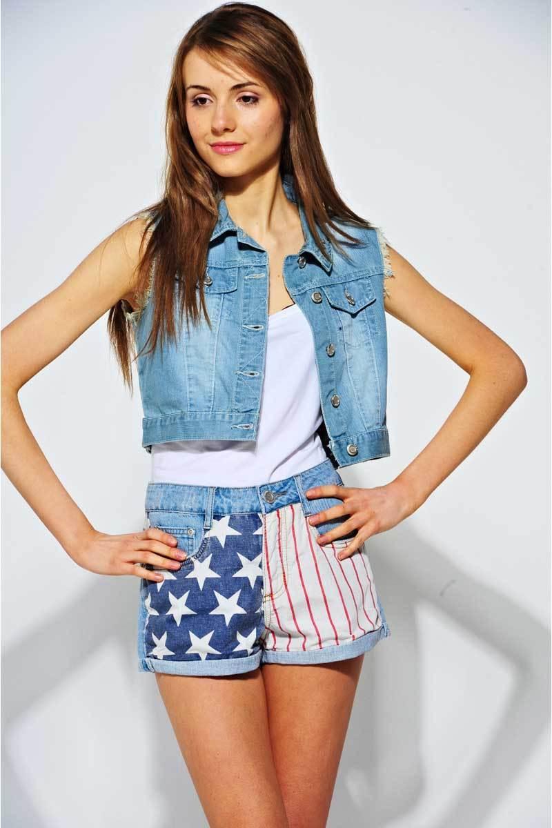 Gwenda Cropped American Flag Waistcoat