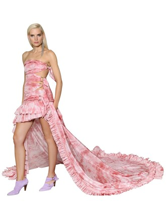 dress silk white pink