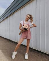 romper,overalls,pink overall,topw,white top,shoes,sneakers