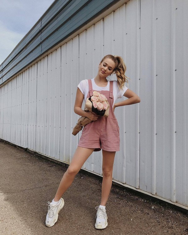 romper overalls pink overall topw white top shoes sneakers