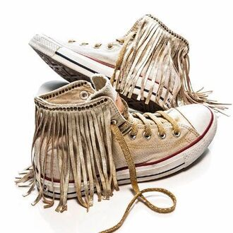 shoes fringes converse brown light brown hippie hipster native native american boho bohemian gypsy