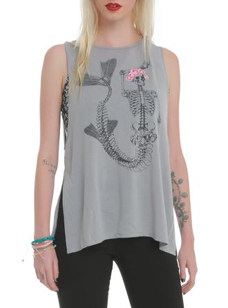 top mermaid skeleton bones grunge soft grunge pastel goth flowers floral crown flower crown skirt t-shirt
