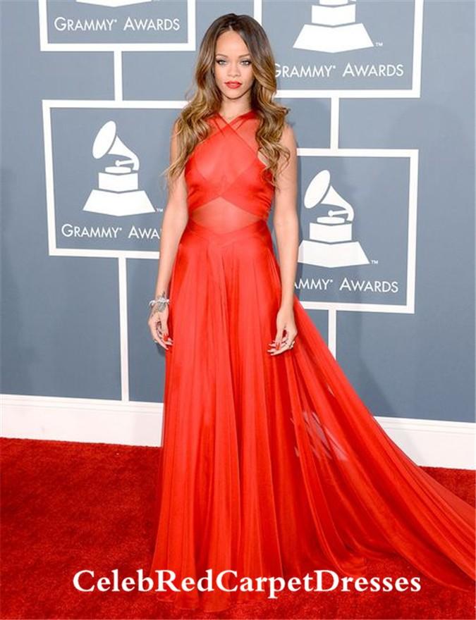 Rihanna Red Dress at Grammy Awards 2013
