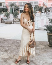 shoes,dress,midi dress,bag,flat sandals,slide shoes,cut-out dress,ruffle dress,ruffle,asymmetrical dress,summer outfits