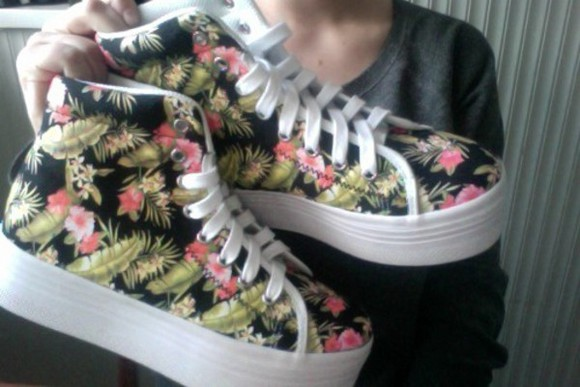 floral shoes platform shoes tropical flatforms sneakers