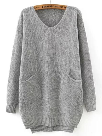 Grey V Neck Pockets Loose Sweater -SheIn(Sheinside)