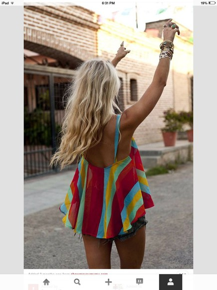 blouse low back top stripes tank top summer top cute blonde hair clothes colorful pink lovely pepa chic adorable blouse flowy sheer low cut back summer outfits