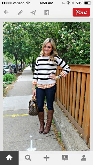 stripes top fall outfits