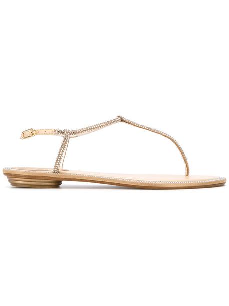 René Caovilla studded women sandals flat sandals leather brown satin shoes