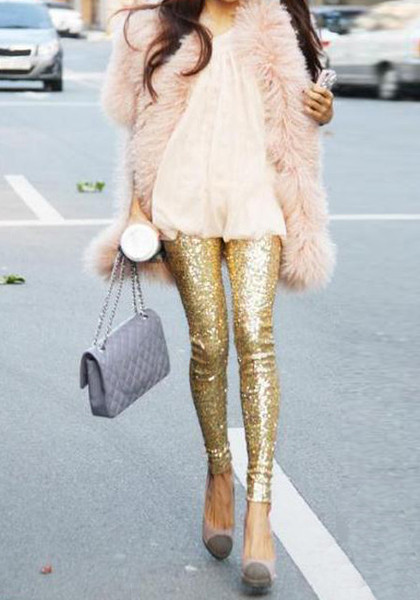 Gold Sequined Leggings | Lookbook Store