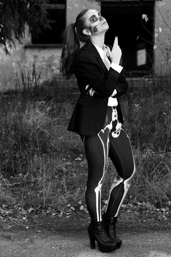 pants romwe leggings black skeleton