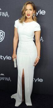 dress,white dress,slit dress,jennifer lopez,Golden Globes 2016,clutch,sandals,gown,prom dress,long dress,bag,Silver sandals