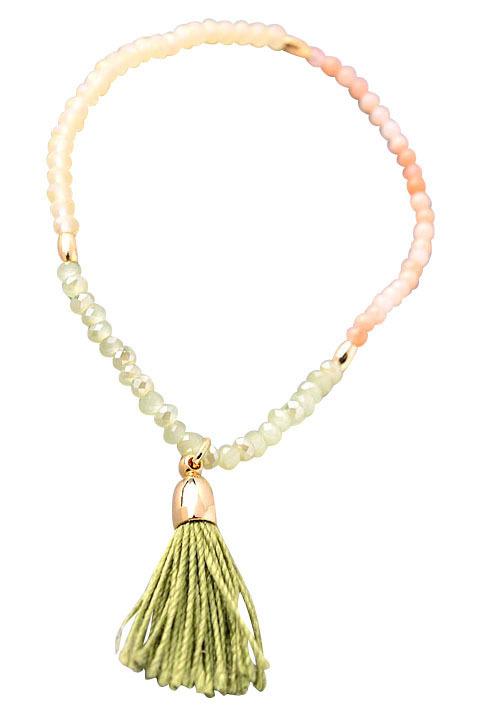 Green Tassel Glass Stone Beaded Bracelet