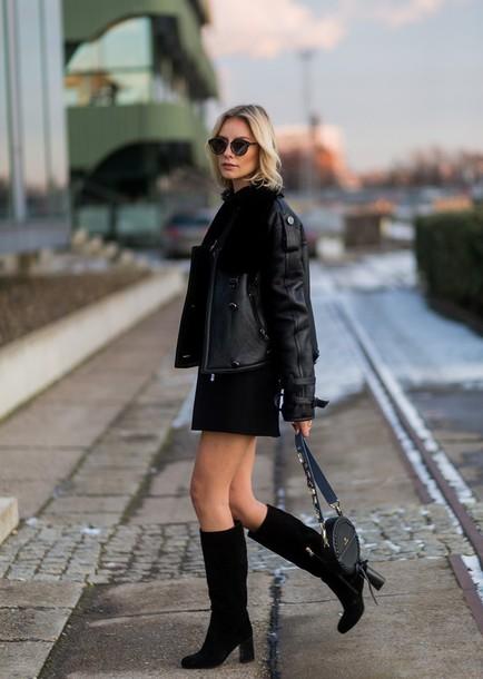 bbfe1a2d0a lisa rvd blogger dress shirt jacket shoes bag all black everything black leather  jacket knee high